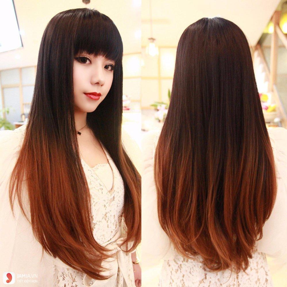 Tóc dài duỗi thẳng có mái