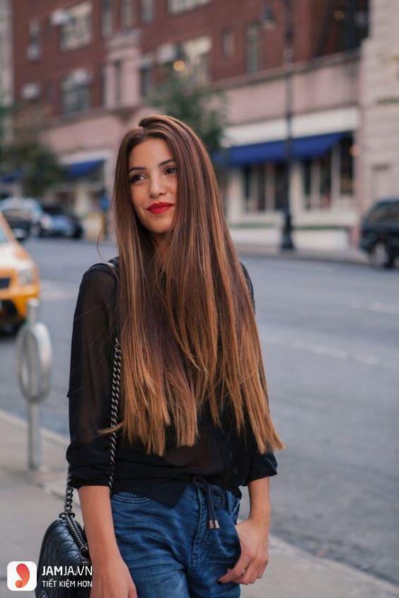 Tóc dài duỗi thẳng không mái 2
