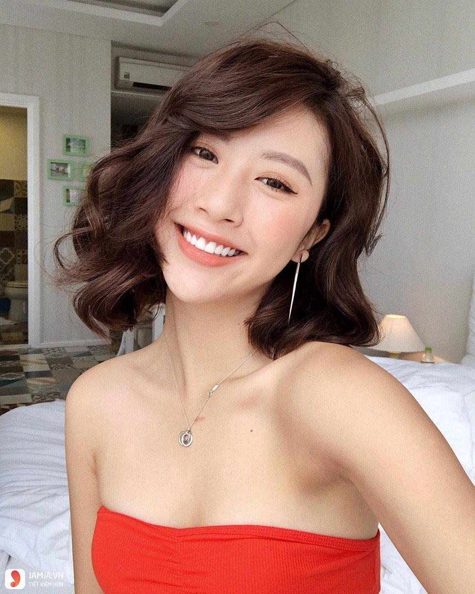Tóc mái xéo ngắn ngang vai Hàn Quốc