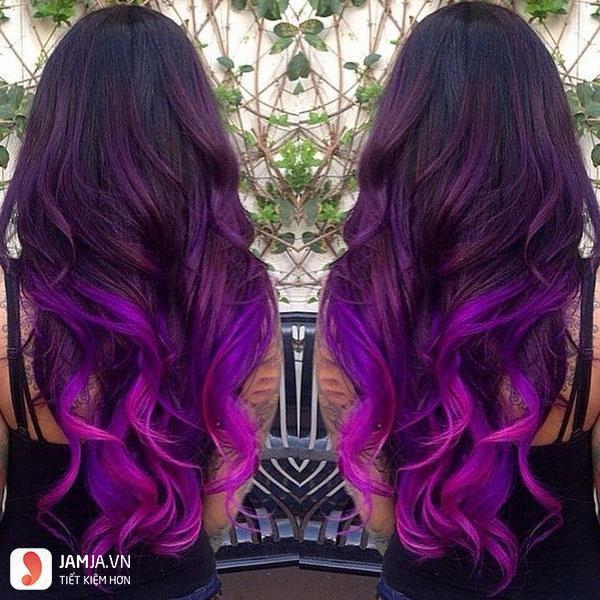 nhuộm tóc màu tím than 7