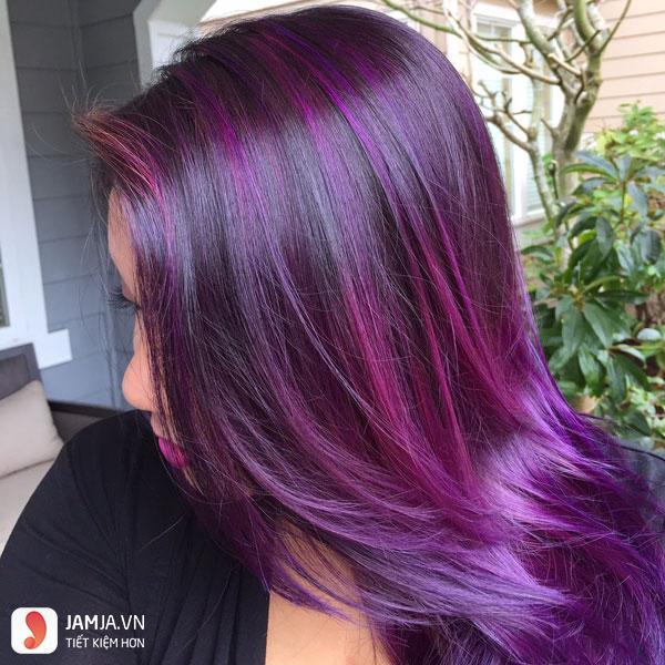 nhuộm tóc màu tím than 6