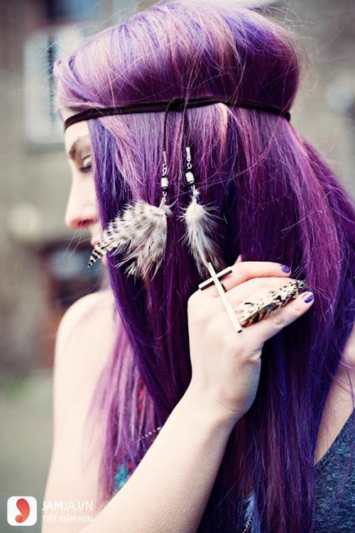 nhuộm tóc màu tím than 3