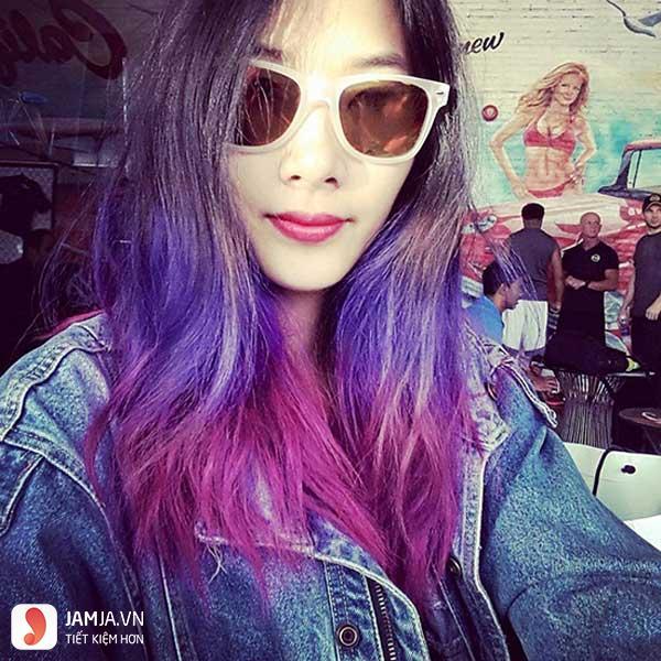 nhuộm tóc màu tím than 9
