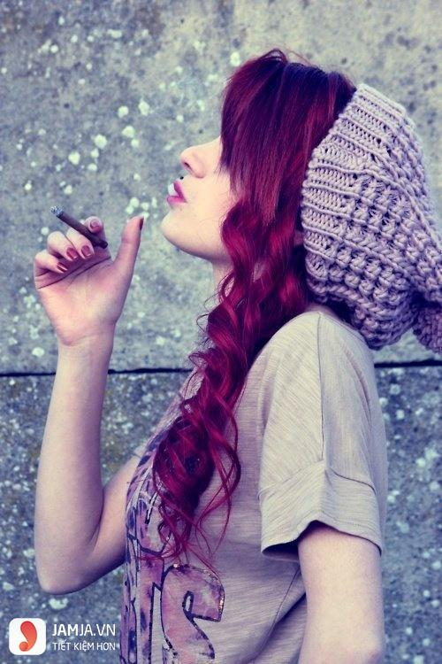 nhuộm tóc màu tím than 8