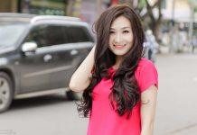 tóc dài uốn xoăn nhẹ phần đuôi