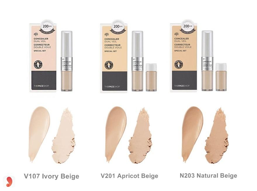 Reivew màu kem The Face Shop Concealer Dual Veil