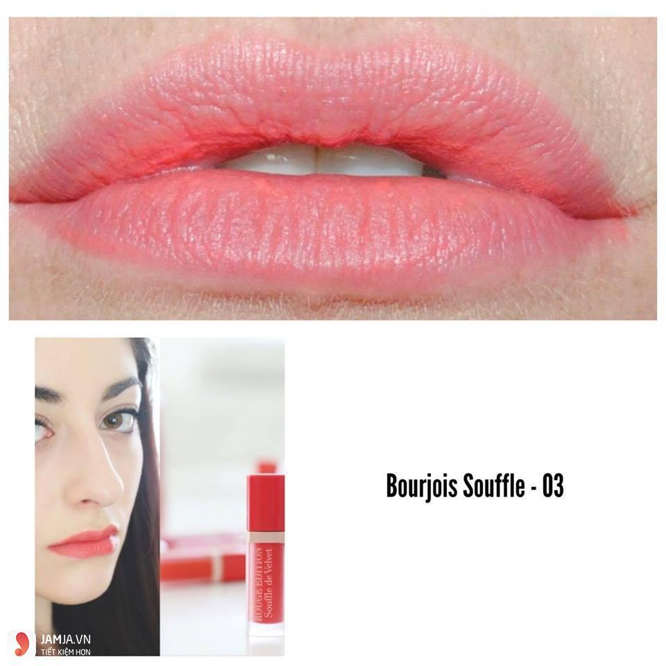 Review sonkem Bourjois Rouge Edition Souffle de Velvet màu 03