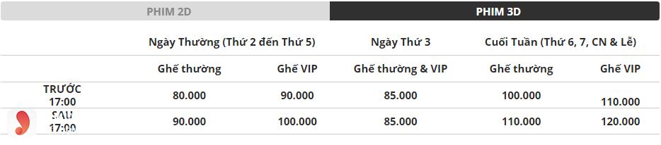 Giá vé rạp Platinum The Garden - 2