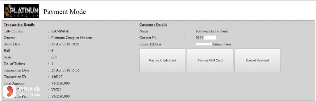 Cách mua vé online tạiPlatinum The Garden - 5