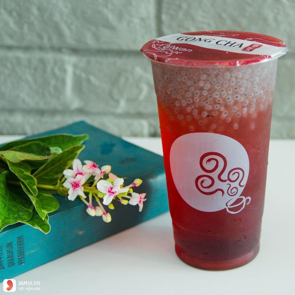 Đào hồng mận và hột é Gong Cha