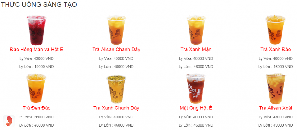 Menu Gong Cha - thức uống sáng tạo