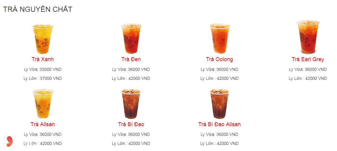 Menu Gong Cha - trà nguyên chất