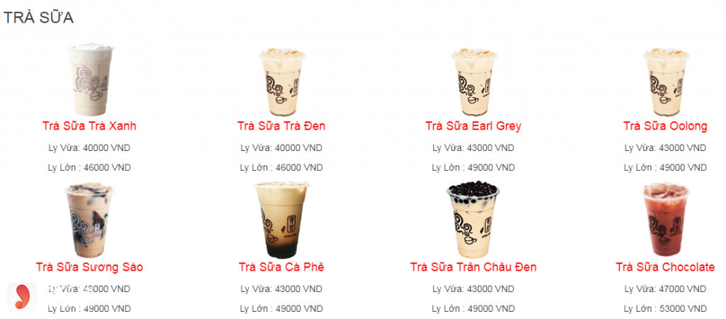 Menu Gong Cha - trà sữa
