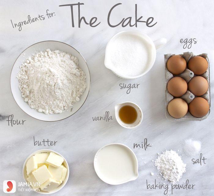 Nguyên liệu làm bánh sinh nhật không cần lò nướng