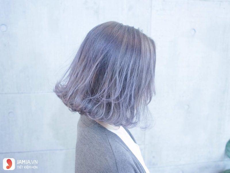 Nhuộm tóc màu tím khói