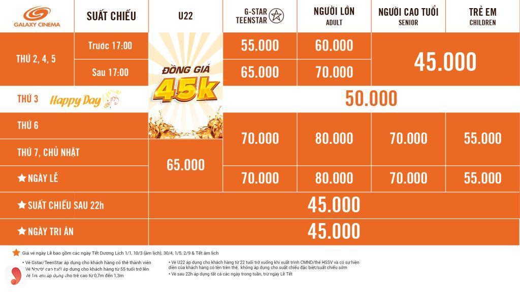 Giá vé tại Galaxy Quang Trung - 1