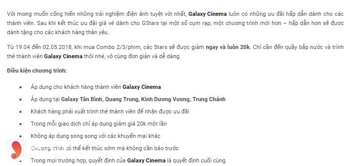 Ưu đãi dành cho thành viên Galaxy Quang Trung - 1