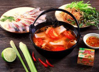 cách nấu lẩu cá hồi măng chua 4
