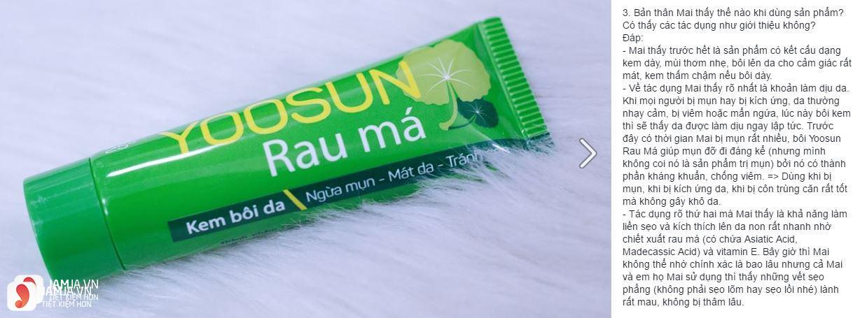 Cảm nhận của khách hàng sau khi sử dụng kem trị mụn rau má Yoosun