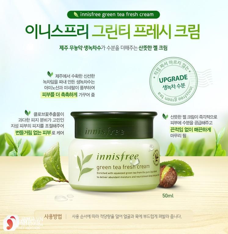 kem dưỡng da cho da dầu Innisfree green tea fresh cream 7