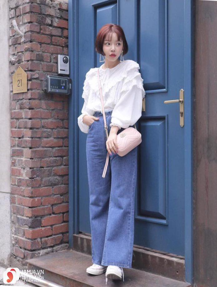 Mix đồ cùngquần culottes jean sành điệu 1