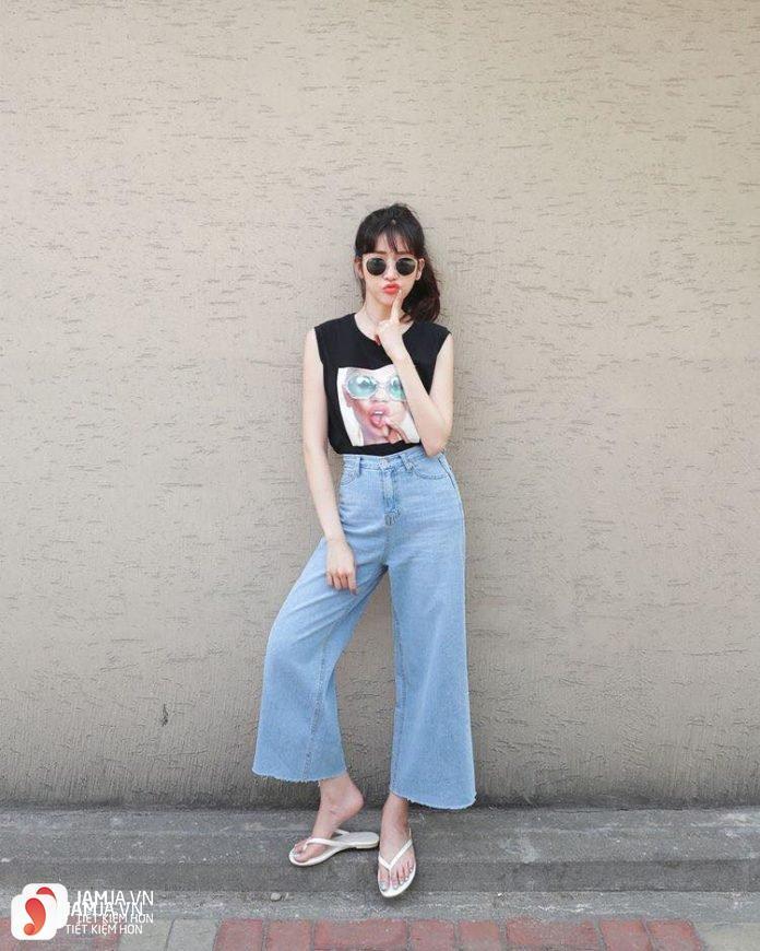 Mix đồ cùngquần culottes jean sành điệu 3