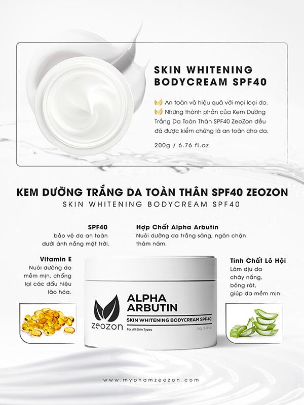 Zeozon Skin Whitening Body Cream SPF 40 giá bao nhiêu