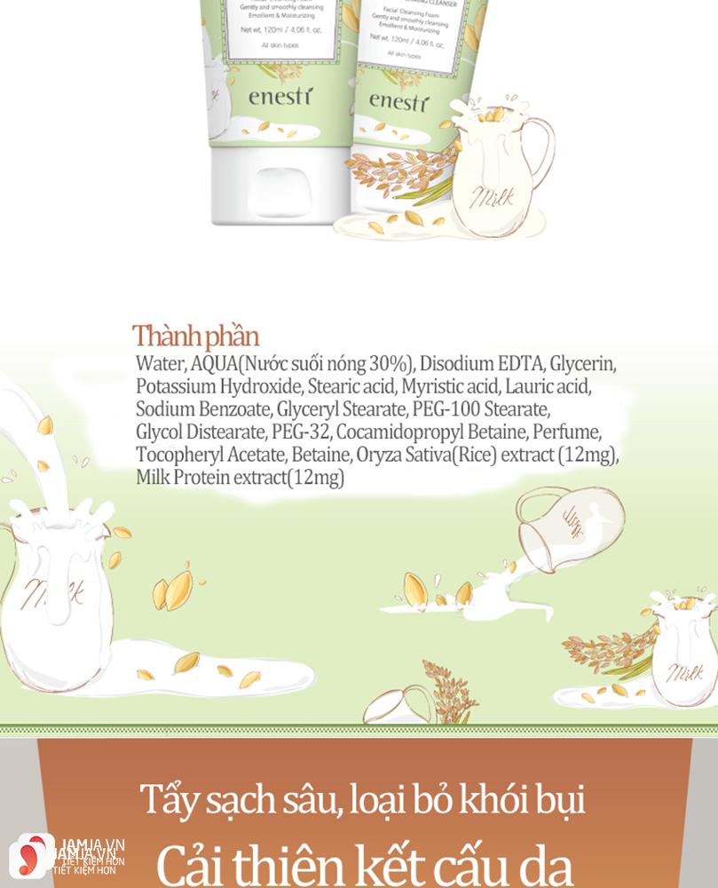 sữa rửa mặt gạo Hàn Quốc Enesti 2