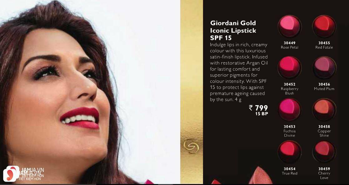 Review son Oriflame Giordani Gold Iconic Lipstick SPF15 7