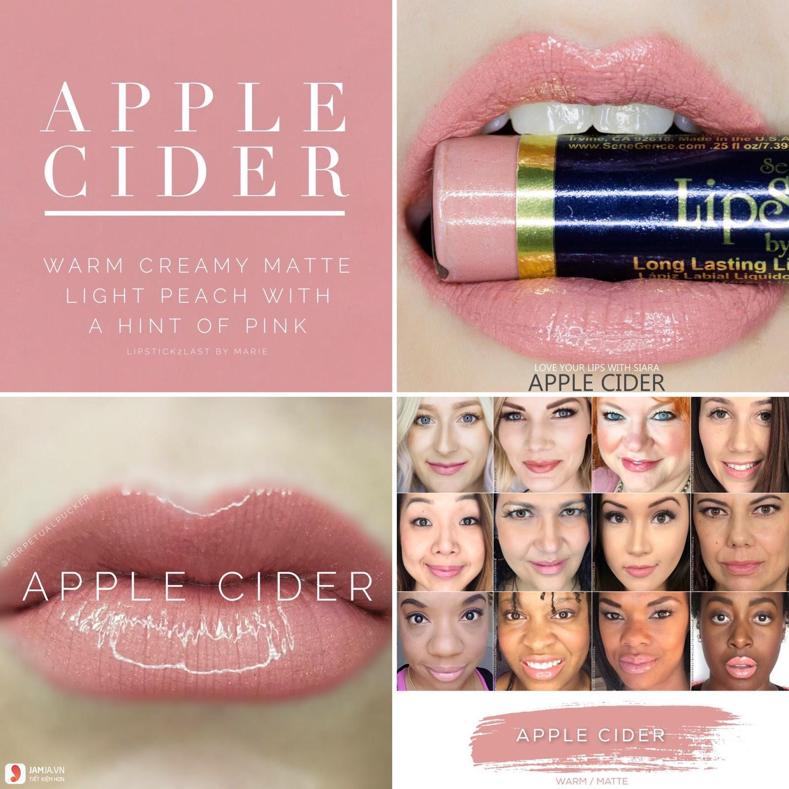 swatch son Lipsense Liquid Lip Color Mattemàu Apple Cider