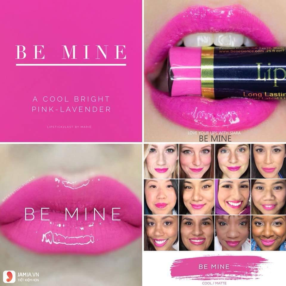 swatch son Lipsense Liquid Lip Color Mattemàu Be Mine-Limited Edition