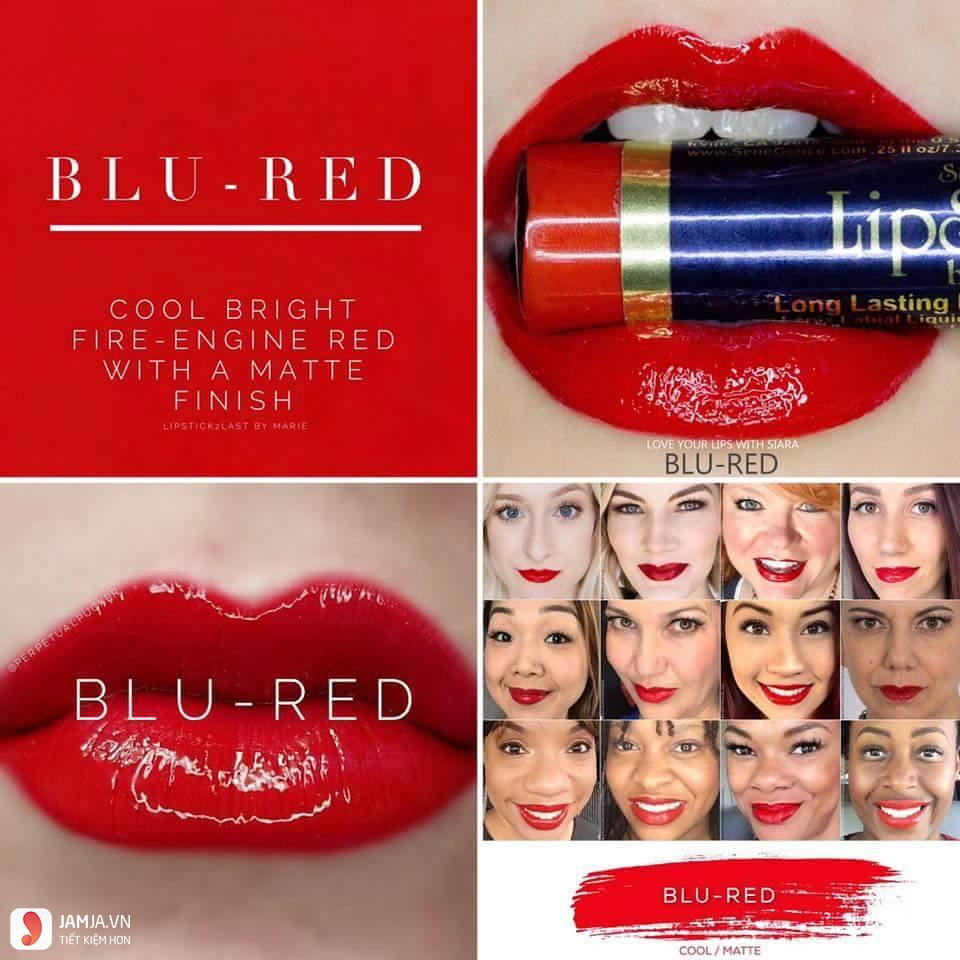 swatch son Lipsense Liquid Lip Color Mattemàu Blu-Red