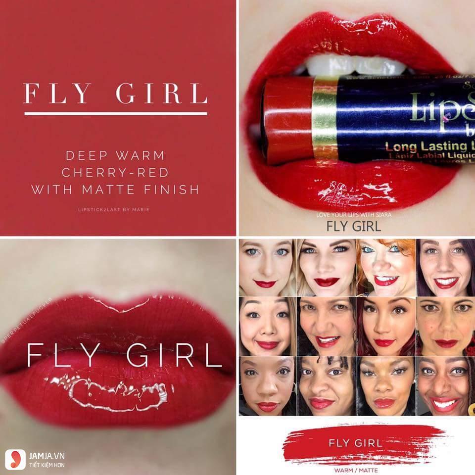 swatch son Lipsense Liquid Lip Color Mattemàu Fly Girl