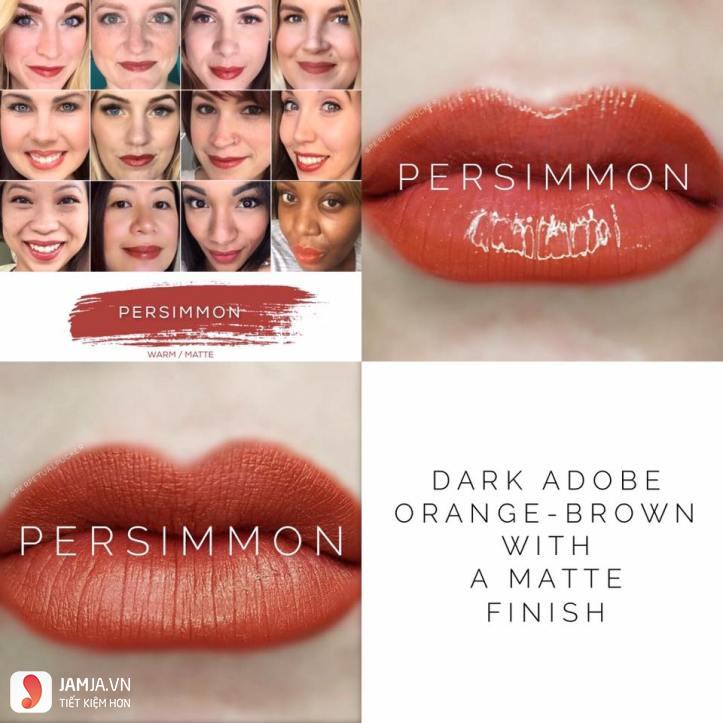 swatch son Lipsense Liquid Lip Color Mattemàu Persimmon