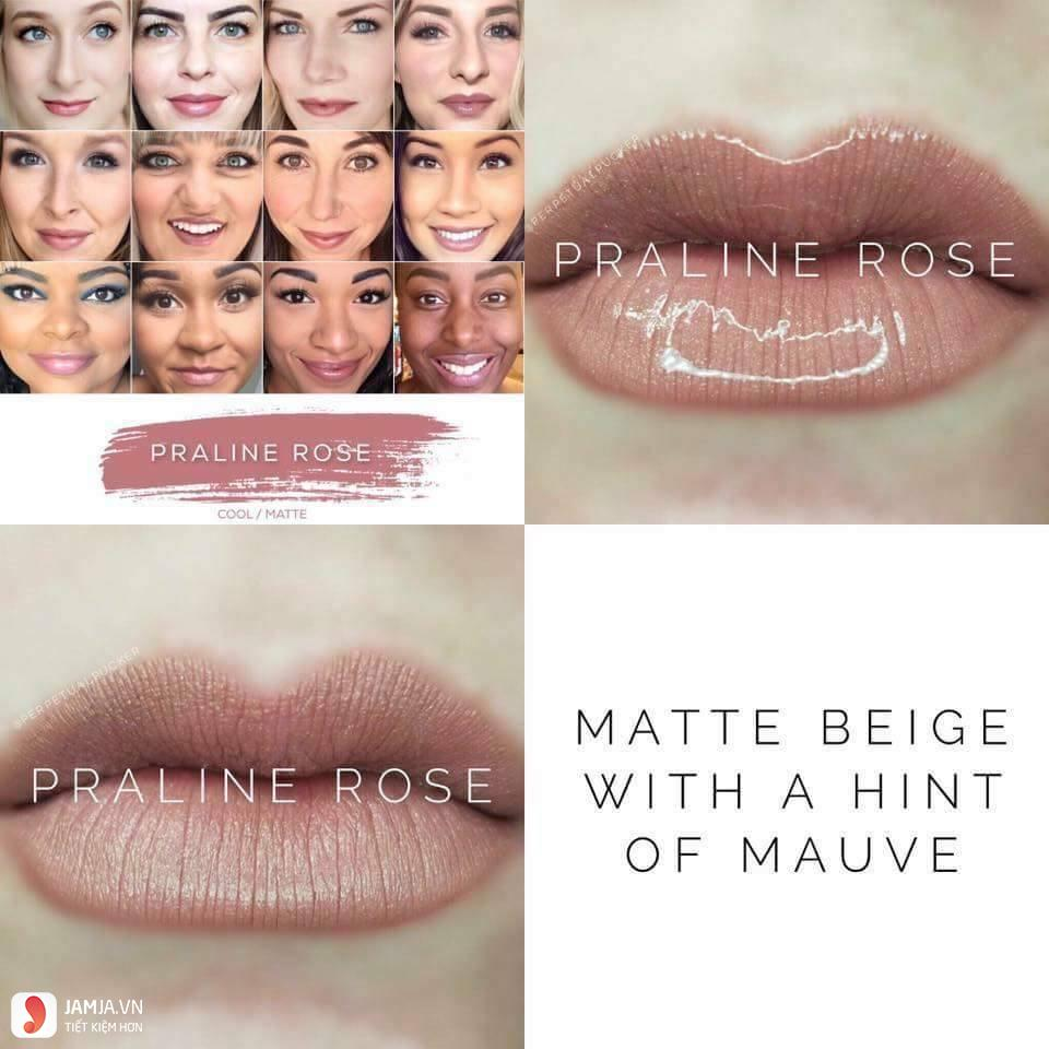 swatch son Lipsense Liquid Lip Color Mattemàu Praline Rose