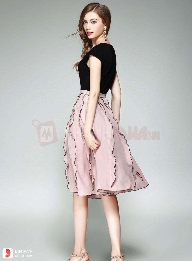 Phối đồ cùng chân váy xòe dài 2
