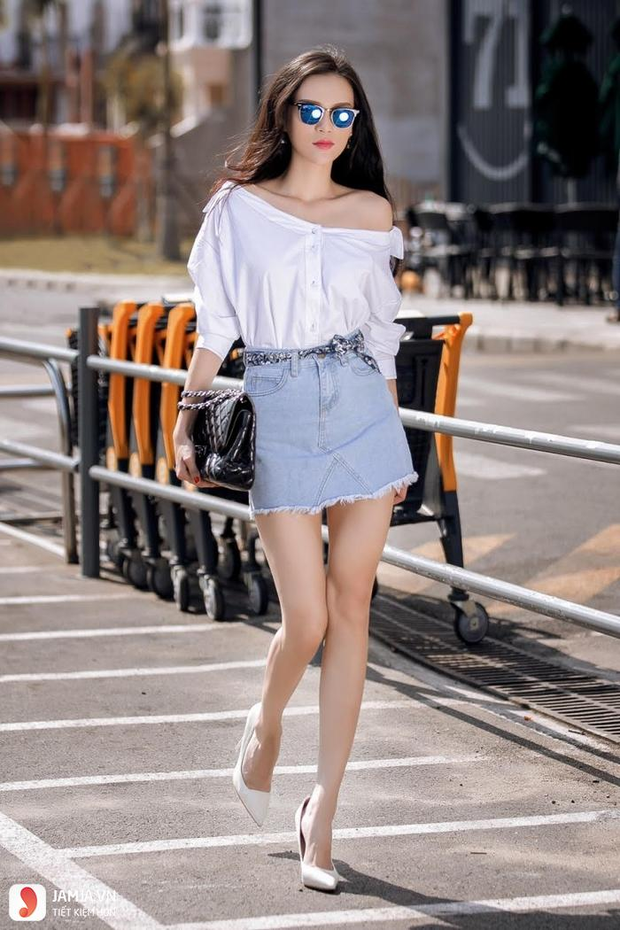 Phối đồ với chân váy jeans ngắn 1