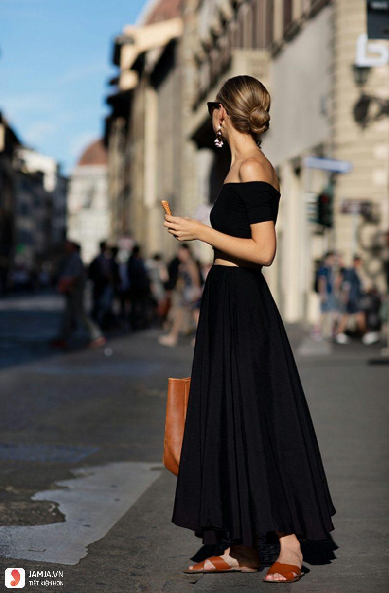 Phối đồ cùng chân váy maxi 2