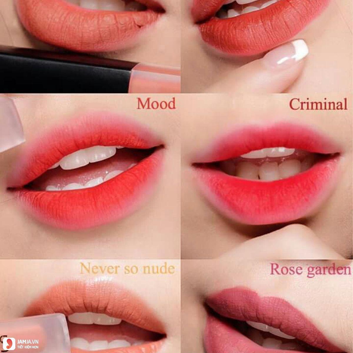 Khả năng bám màu của sonTy Cosmetics Matte Lip Cream