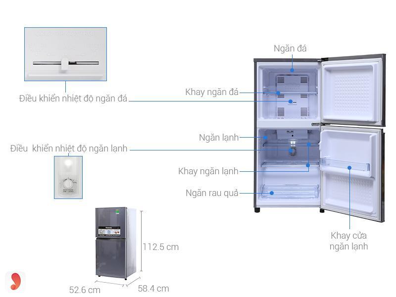 Tủ lạnh2 cửa Panasonic 135 lít NR-BJ158SSV1