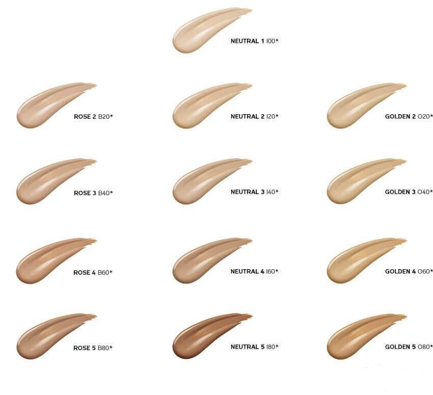 Bảng màu ShiseidoSynchro Skin GlowLuminizing Fluid Foundation