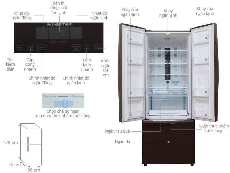 Tủ lạnhHitachi R-WB475PGV2 (382 lít)