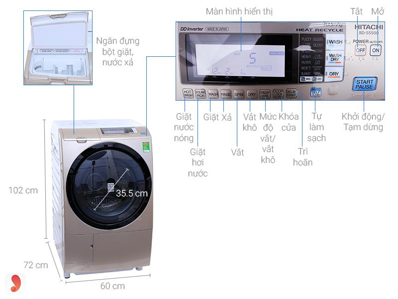 Máy giặt cửa trước Hitachi10.5kgS5500