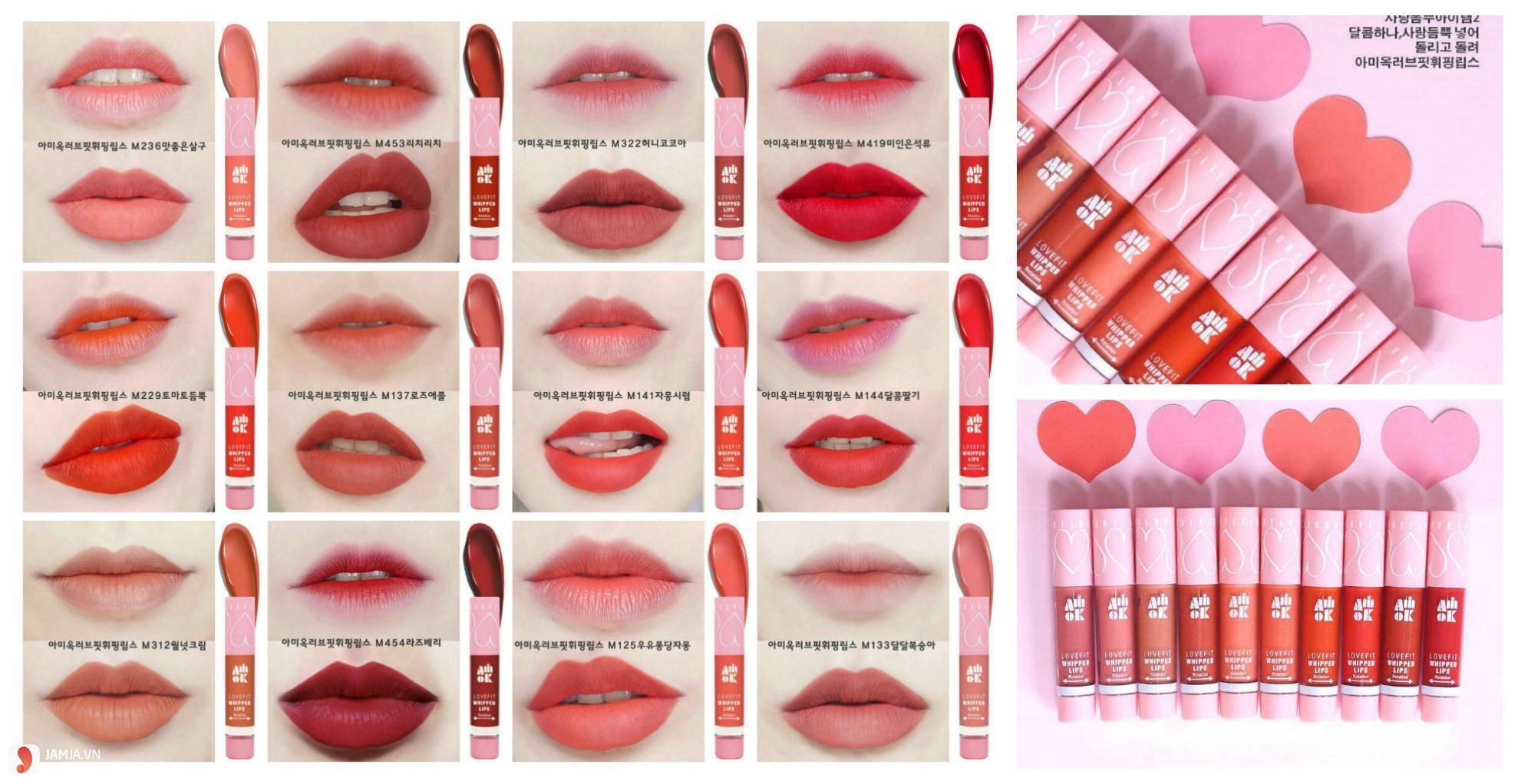 Bảng màu son Amok Lovefit Whipped Lips
