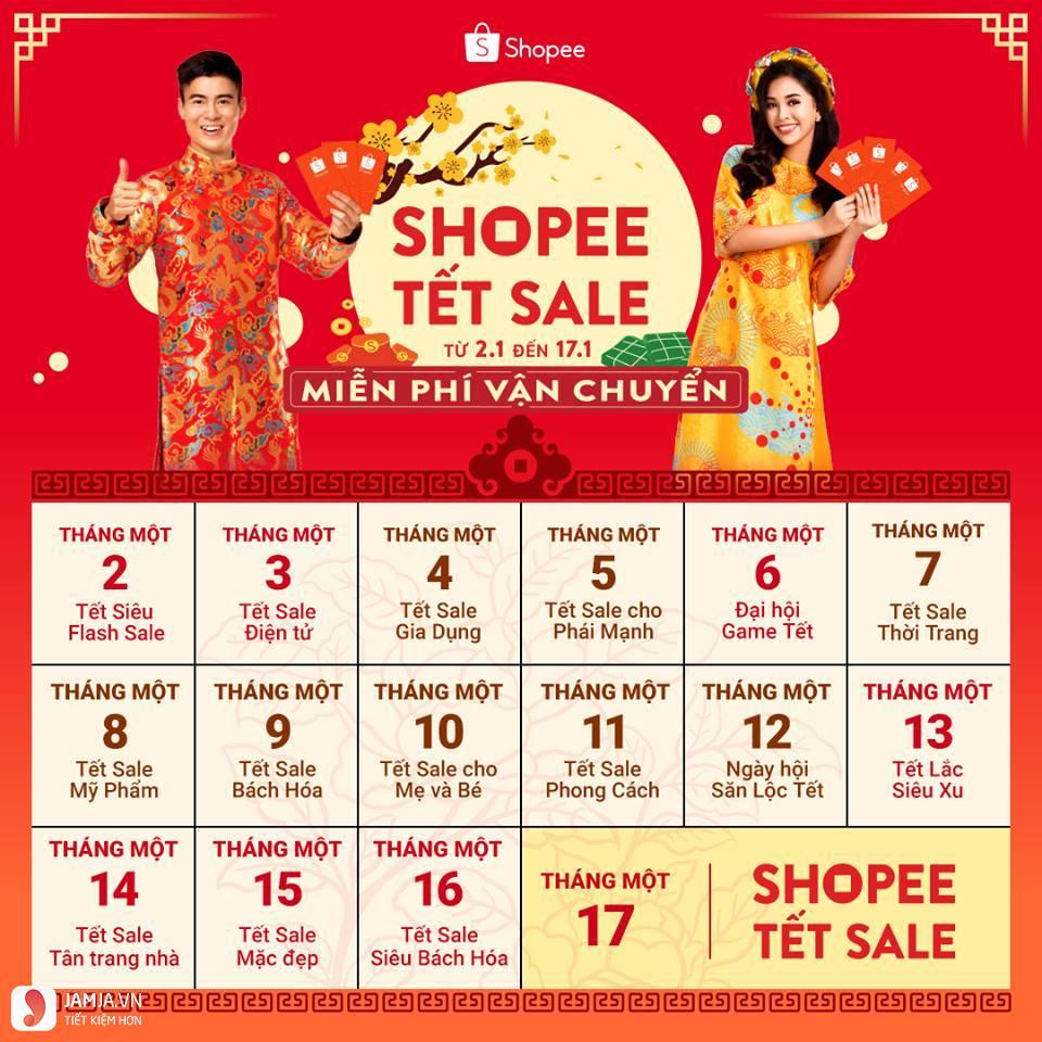 Lịch Shopee sale Tết