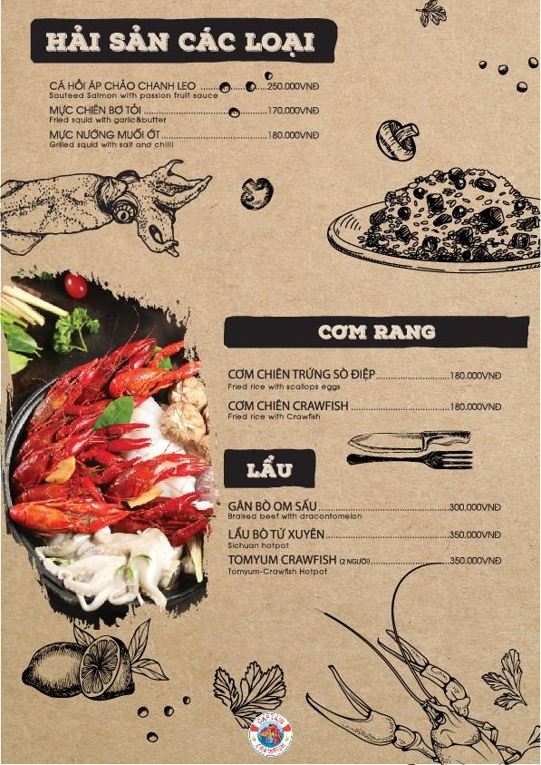 Captain Crawfish menu món chính