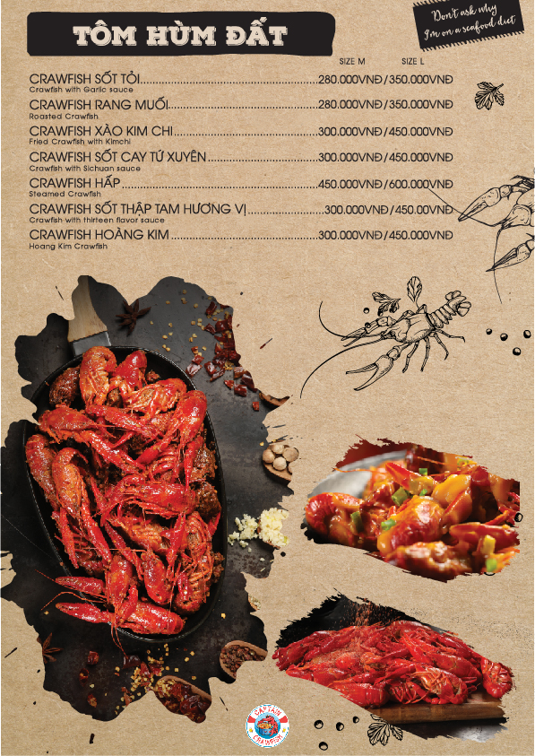 Captain Crawfish menu tôm hùm đất