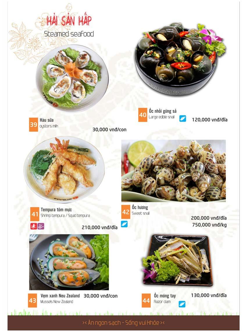 Nhà hàng Isteam menu hải sản