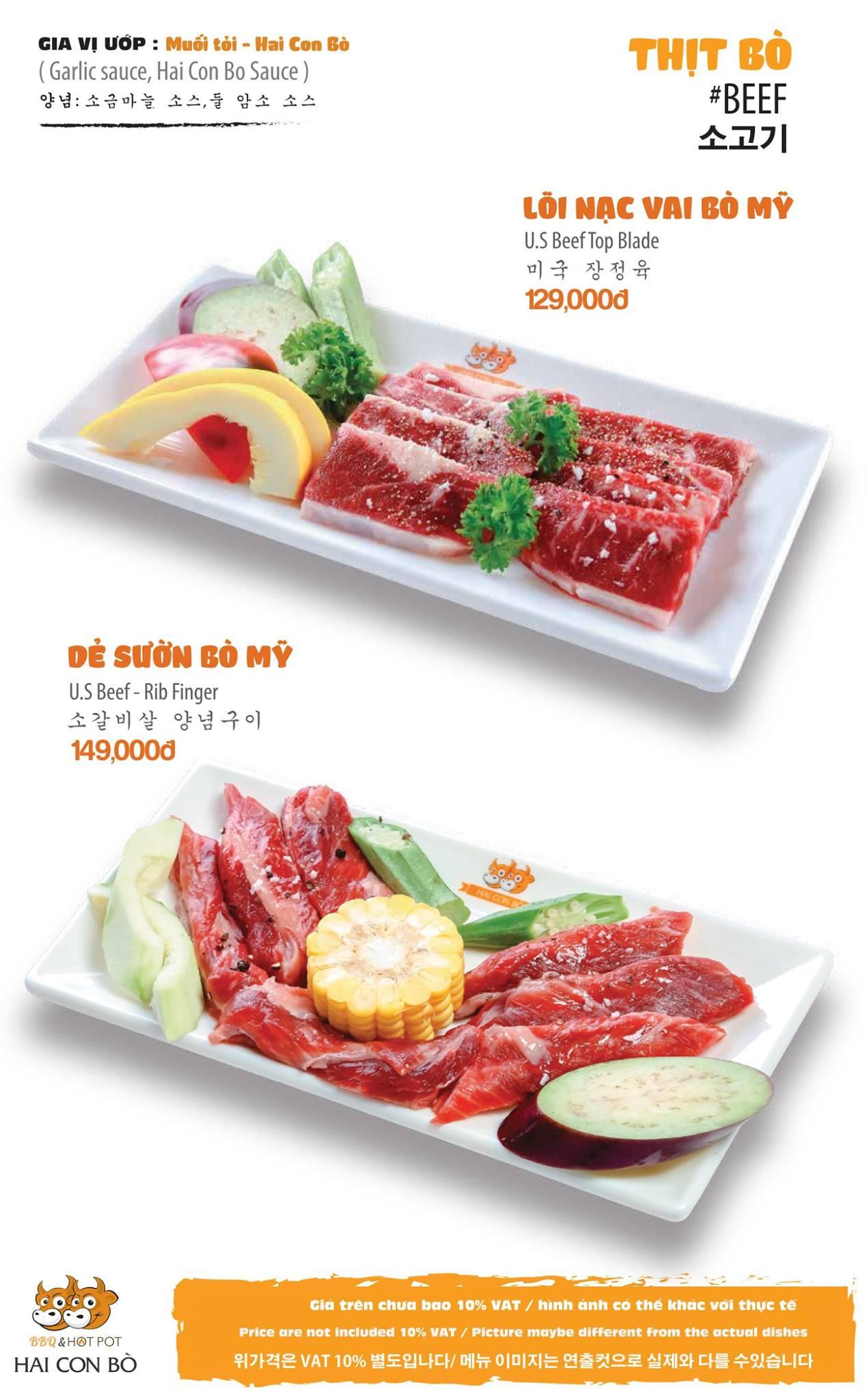 Hai Con Bò BBQ menu thịt
