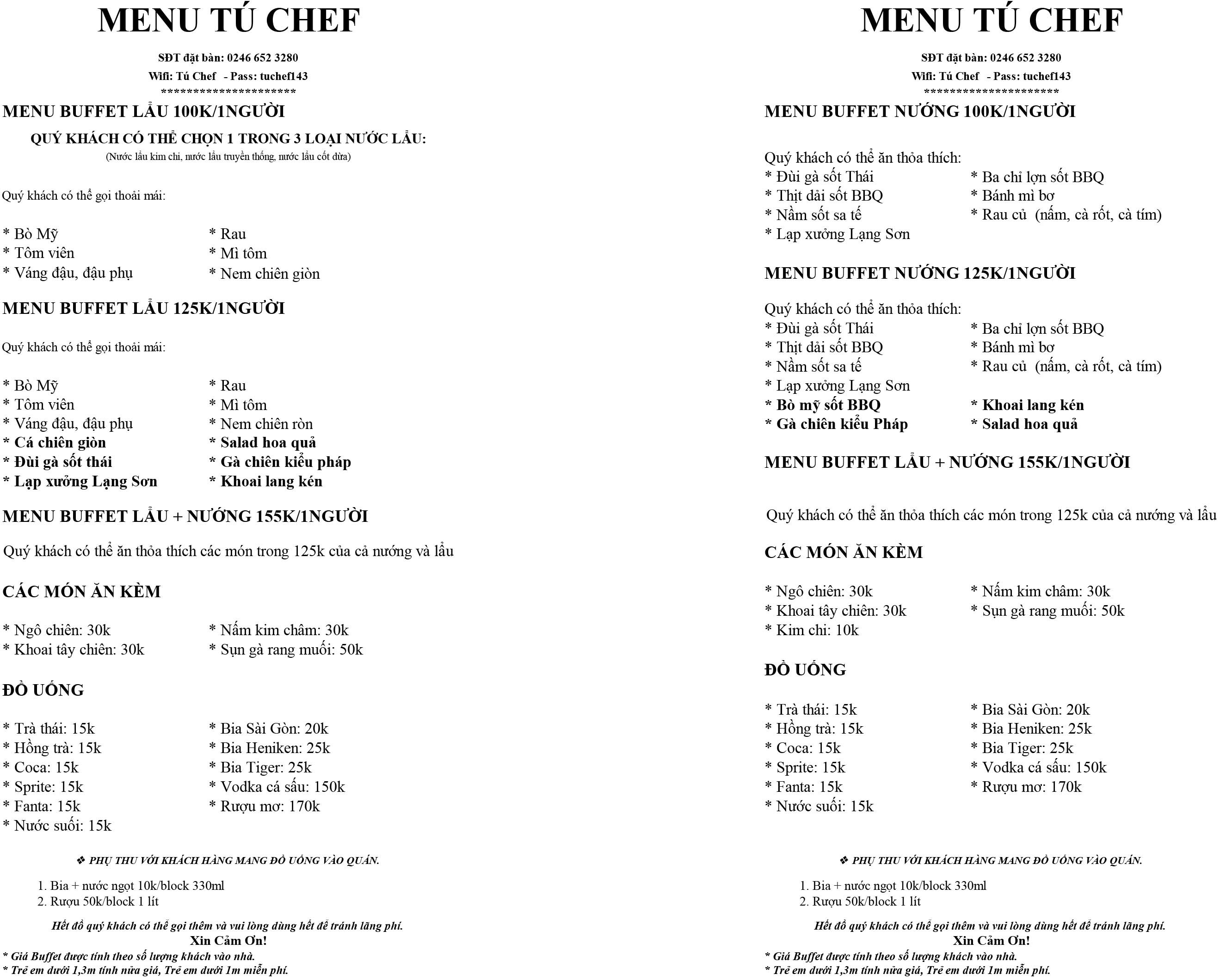 Tú Chef menu